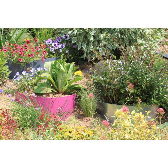 Bordure de jardin demi-lune en acier fushia pour talus