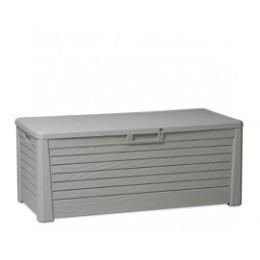 Coffre de rangement exterieur gris en résine 550 litres