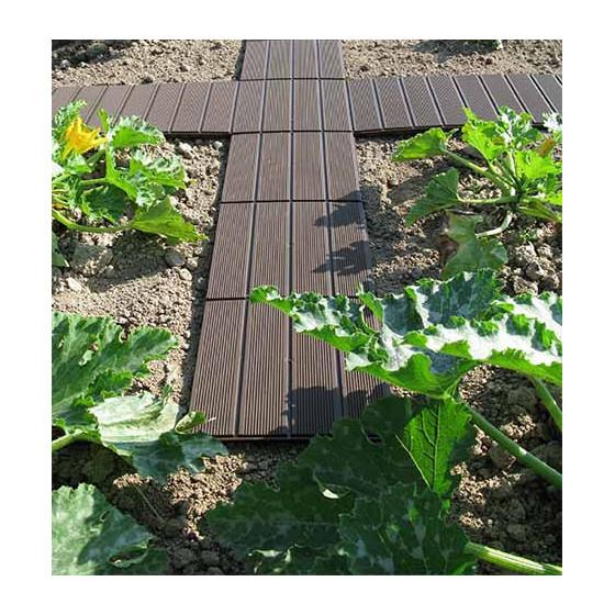 Dalle de jardin clipsable marron foncé