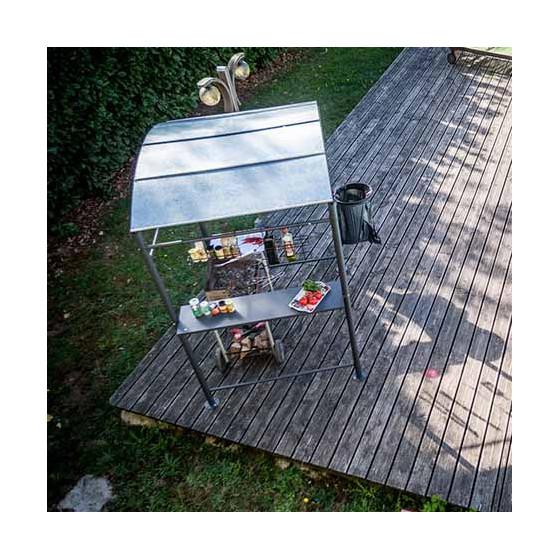 Carport en acier gris anthracite pour barbecue