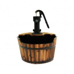Fontaine de jardin en bois rustique un tonneau