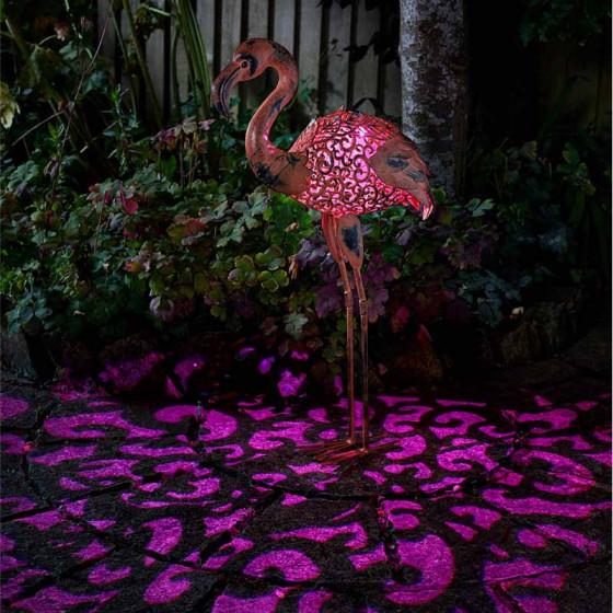 Flamant rose solaire en métal peint