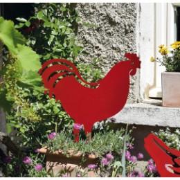 Figurine en métal coq rouge à planter