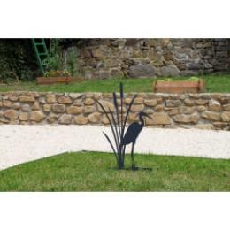 Héron décoratif à planter en acier gris anthracite