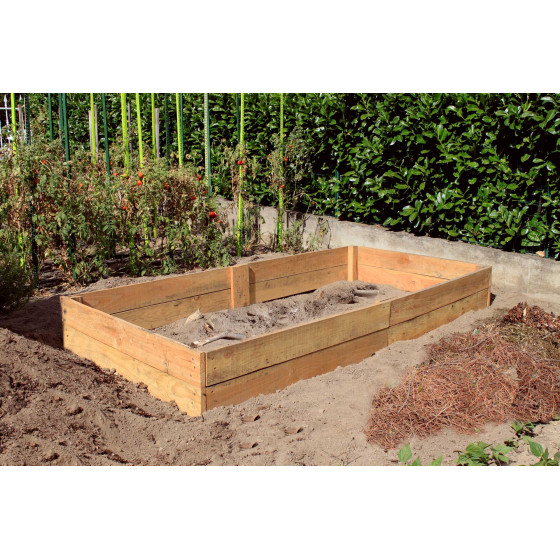 Bac permaculture en bois douglas naturel 1,30 x 2,60 m