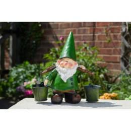 Nain de jardin en résine 2 seaux H 30 cm