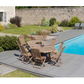 Table en teck extensible ovale et 8 chaises de jardin en teck
