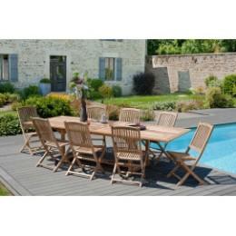 Table en teck extensible rectangulaire et 8 chaises de jardin
