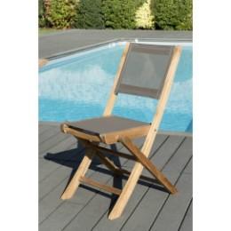 Table en teck extensible rectangulaire et 6 chaises en textilène taupe