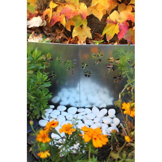 Bordure de jardin en acier galvanisé brut trèfle H 25 cm