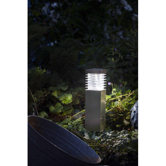Borne solaire de jardin à LED en inox