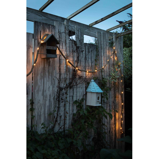 Guirlande solaire corde 60 LED blanche