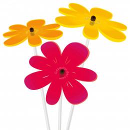 3 fleurs rouge, orange et jaune attrape soleil 25 cm